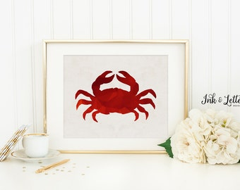 Crab Print - Crab Printable - Nautical Nursery Decor - Nautical Bathroom Decor - Sea Nursery Print - Digital - Instant Download - 8x10