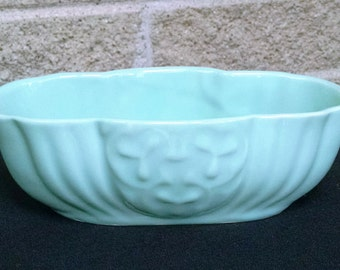 Vintage Green USA Oblong Ceramic Planter with Clover/Floral Design