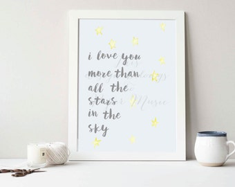 I Love You More Than All The Stars In The Sky Wall Art Print Watercolour Handpainted Children's Room Anniversary Wedding Gift