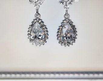 crystal bridal earrings, cubic zirconia earrings, cz earrings, teardrop bridal earrings, crystal earrings, bridesmaid earrings, wedding