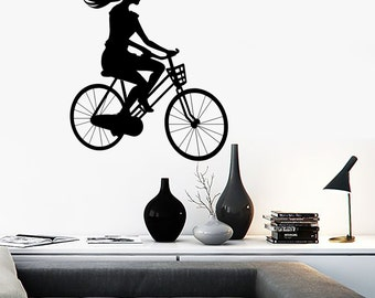 Wall Vinyl Decal Girl Riding a Bicycle Long Haired Beauty Decor Girl's Room Modern Sketch Home Art Decor (#1167dz)