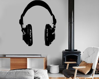 Wall Vinyl Music Headphones Head Phones Rock Pop Guaranteed Quality Decal Mural Art 1533dz