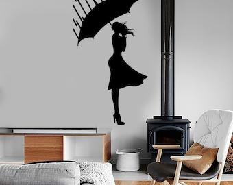 Wall Decal Sexy Girl Rain Wint Autumn Romantic Vinyl Sticker Mural Art 1598dz
