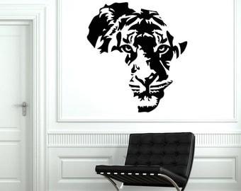 Wall Vinyl Decal Africa Tiger Animal Predator African Symbol Decor 2011di