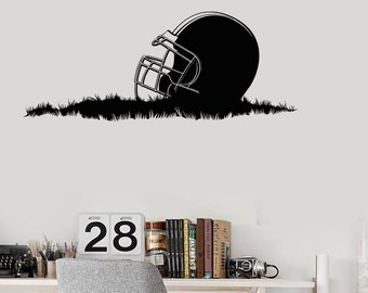 Wall Vinyl Decal American Football Helmet Grass Super Bowl Cup Guaranteed Decal 2217di