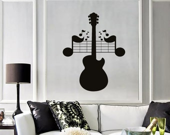 Wall Vinyl Decal Guitar Notes Music Rock Pop Songs Mural 2224di