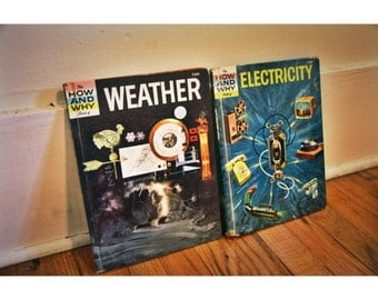 60s set of 2 How & Why science children's books // electricity and weather