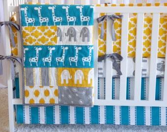 Giraffes on Turquoise  and Yellow, safari, elephants, giraffe, boy nursery, girl nursery, crib bedding, cr