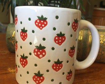 Vintage Waechtersbach Strawberry Mug W-Germany Raised graphics