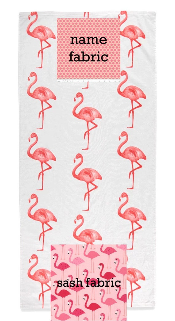 Personalized Name Flamingo Coral and White Beach Towel with Fabric Bow, Summer, Birthday Gift