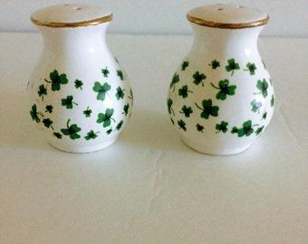 Salt and Pepper Shakers, Irish Salt and Pepper Shakers, Shamrock Salt Shaker,