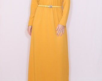 Mustard yellow dress Long Maxi dress with sleeves