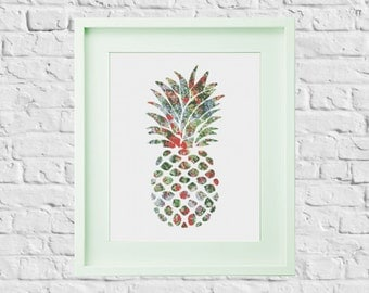 Modern Cross Stitch Pattern Pineapple
