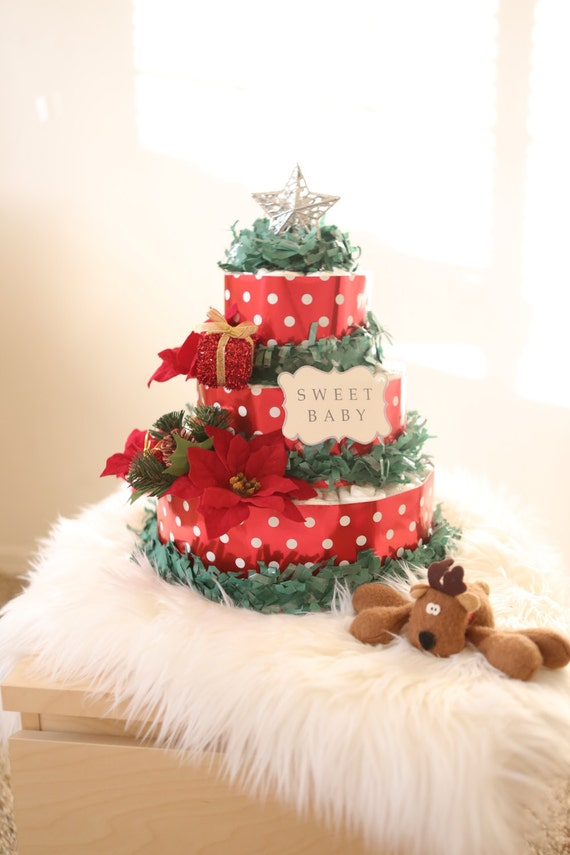 Christmas tree diaper cake baby shower by angangbabyus for Baby christmas tree decoration