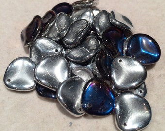 Rose Petal Beads, 14x13mm, Crystal Bermuda Blue, 00030-29636, 25 Beads, Czech Glass