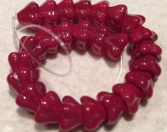Flower Cup Beads, 8x6mm, Coated Raspberry Sorbet, 123-86-15639, 25 Beads, Czech Glass