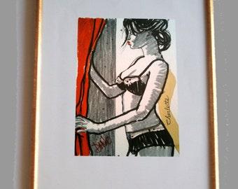 Charlotte - Dessin original réalisé à l'encre de chine sur papier grain fin 300g.