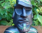 Moai Sculpture, Tiki,  Easter Island  - Polynesian Pop Sculpture, Kitsch, Modern Primitive, Bust, Pinstriped