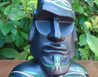 Easter Island Sculpture - Moai Sculpture, Tiki Sculpture, Polynesian Pop Sculpture, Kitsch, Modern Primitive, Bust, Pinstriped