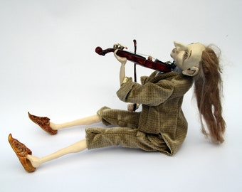 OOAK Art Doll ,, Violinist ,,  Art Doll Sculpture, Custom Doll, Fairy Tale Art Doll, Polymer Clay Doll, Collectable Doll