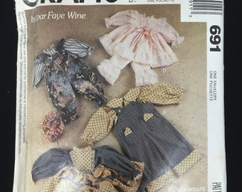 Bunny Rabbit Wardrobe Package Clothing Craft McCall's 691 Faye Wine Design Sewing Pattern 1991 FF VTG