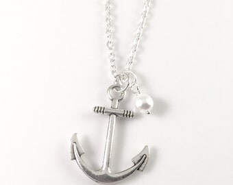 Anchor Necklace, Silver Anchor and pearl Necklace, Anchor Jewelry, Anchor Pendant, Beach Jewelry, Charm Necklace, Large Anchor, pearl jewel