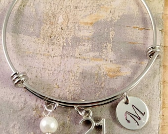 21st birthday gift, birthday bracelet, Initial Charm Bracelet, adjustable bangle, 21st birthday bracelet, pearl bracelet,  gift for her