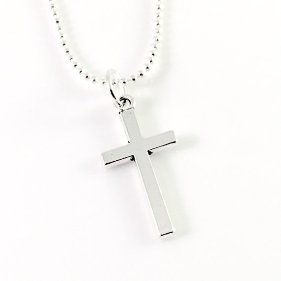 Silver cross necklace modern simple cross jewelry religious