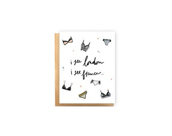 I See London, I See France- Bridal Shower Card, Lingerie Shower Card, Wedding Card, Funny, French, British, Underwear, Bra, Pretty, Cute