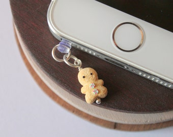 Gingerbread man dust plug charm, handmade with polymer clay, miniature food accesories iphone dust plugs cute dust plugs christmas dust plug