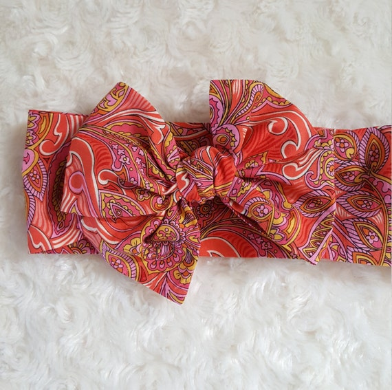 Orange Paisley- Headwrap head band hair accessory