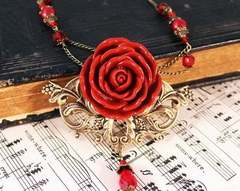 Gothic Victorian Red Rose Bronze Necklace