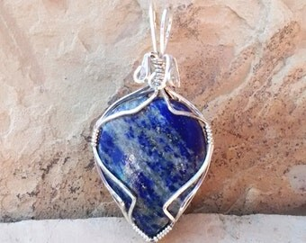 Blue Denim Lapis Wire Wrapped Pendant