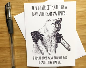Cute Love Card, Anniversary Card, Funny Card, Love Greeting Cards, Romantic Card, For Husband, For Wife, Gift for BF, Handmade, Bear Puns,
