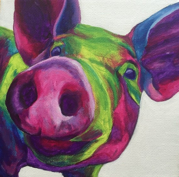 Pig wall art painted pig canvas pig canvas children wall for Abstract animal paintings