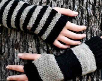 Striped Fingerless Gloves,  Mismatched Stripe, Made in USA, Glove with Stripe, Stripped Glove - Ready to Ship
