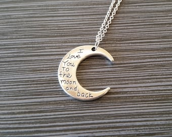 Silver Moon Necklace - Moon and Back Charm Necklace - Personalized Necklace - Custom Gift - Initial Necklace - Mom Necklace Daughter Gift