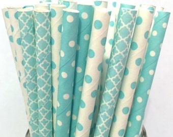 2.85 US Shipping -Light Blue Paper Straws - Baby Blue paper straws - Cake Pop Sticks - Drinking Straws