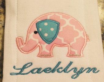 Baby Girl Elephant Burp Cloth