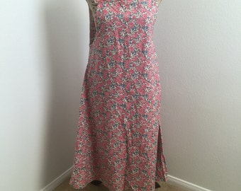 Cool 1970's Summer Dress Pink Floral Print Tank Style Dress Flowy Dress Size Large