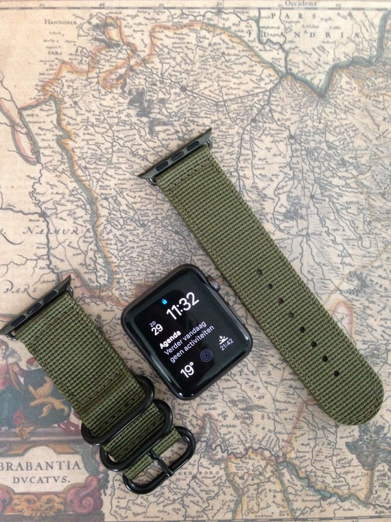 Nato/zulu strap 2-piece for Apple watch / Apple watch band (army green), Free Shipping Worldwide!