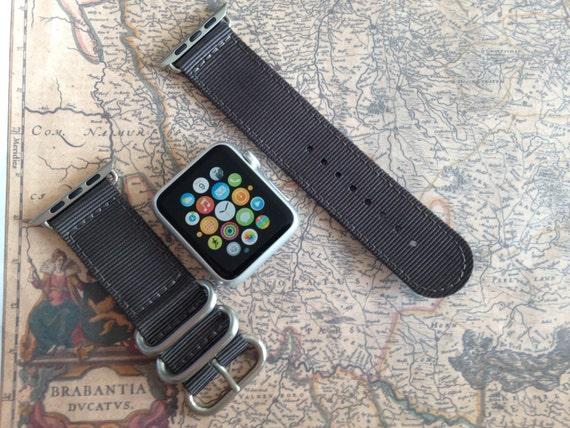 Apple watch original, series 1, series 2 band: Zulu strap (silver rings) 2-piece (Dark Gray) 42mm, Free Shipping Worldwide!