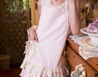 candy striped floral apron. vintage floral apron. ruffles and bows apron. hostess apron. pretty apron. floral apron by MRSV.