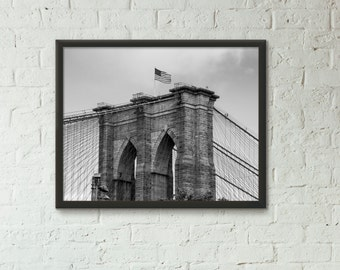 Top of the Brooklyn Bridge Photography, NY, New York City, Art, Print, Home Decor, Manhatthan, Urban, Modern