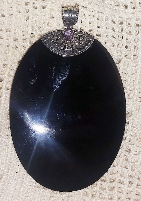 on sale large oval black onyx pendant sterling by