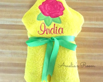Pink Rose Yellow Hooded Towel, Girls Towel, Beach Towel, Bath Towel, Embroidered, Monogrammed, Personalized, Pool Towel,Yellow Towel, Pink