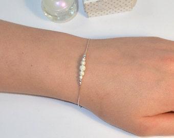 Silver BEADED BAR Bracelet // Horizontal Bar Bracelet - Simple Bracelet - Tiny Silver Bracelet - Stardust Bar Bracelet