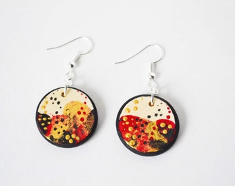 hand painted earrings, red and gold earrings, wooden abstract earrings, wood dangle earrings, unique red earrings, red statement earrings
