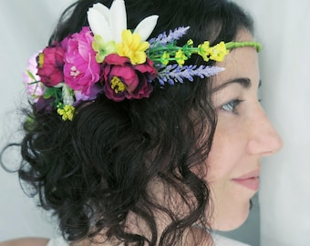 Bridal wreath with fabric flowers, Vintage Bohemian style wedding hair accessories. Amaranth, purple, yellow, lilac.