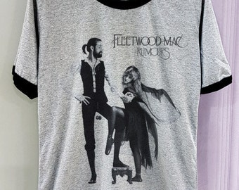 Fleetwood Mac Shirt Rumors Short Sleeve Two Tone White Grey Gray Tee Clothing